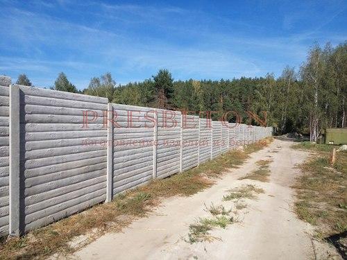 Забор под ключ на 4 плиты бревно