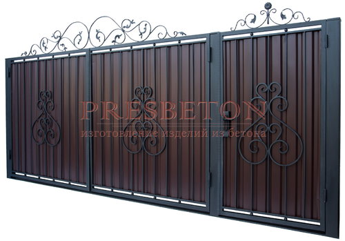 Ворота распашные с ковкой м5