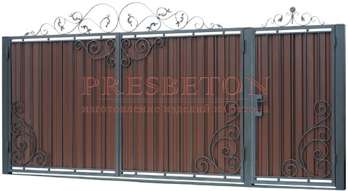 Ворота распашные с ковкой м7