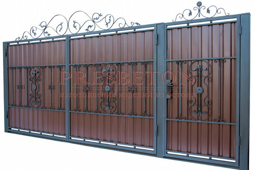 Ворота распашные с ковкой м11